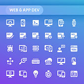 Website and Application Development Vector Icon Set.