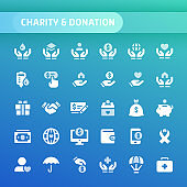 Charity & Donation Vector Icon Set.