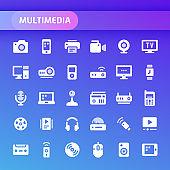 Multimedia Vector Icon Set.