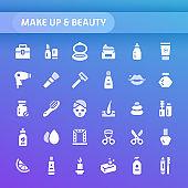 Make up & Beauty Vector Icon Set.