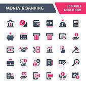 Money & Banking Vector Icon Set.