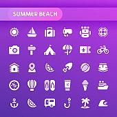 Summer Beach Vector Icon Set.