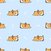 Cute welsh corgi puppy sleeping with bone cartoon seamless pattern, vector illustration