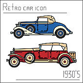 Color vector icon set american auto oldtimer. Classic 1930 style. Nostalgia antique automobile. Summer travel vacation. Vintage cartoon sport. Highway. Garage. Collection car. Illustration for design.