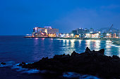 Jeju town illuminated in night, Jeju island, South Korea