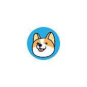 Welsh corgi dog face cartoon icon, vector illustration