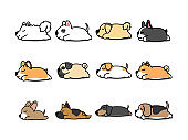 Lazy dog sleeping cartoon icon set, vector illustration