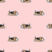 Lazy beagle puppy sleeping seamless pattern, vector illustration