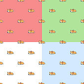Set of 4 colours seamless pattern lazy corgi puppy sleeping cartoon, vector illustration