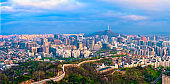 Panorama of Seoul skyline on sunset, South Korea.