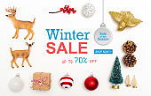 Winter sale message with Christmas ornaments