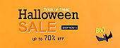 Halloween Sale message with paper bat