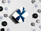 Christmas gift box with baubles