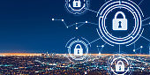 Cyber security theme with downtown Los Angeles