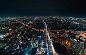 Aerial view of Osaka, Japan at night