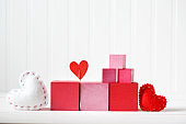 Pink and red blocks with hearts