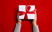 Person holding a Christmast gift box