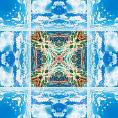 Abstract geometric symmetrical fractal pattern