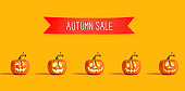 Halloween sale with orange pumpkins