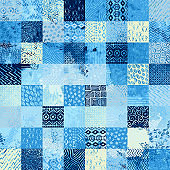 Seamless watercolor pattern in patchwork style.