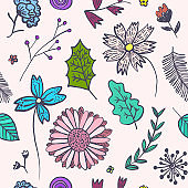 Doodle pink floral pattern with colorful flowers