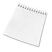 Vertical vector realistic square ruled notebook