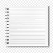 Square notebook, realistic lined mockup
