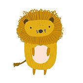 Cute childish hand drawn orange lion illustration
