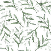 Gentle overlap green leaves and branches pattern
