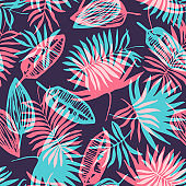 Bright blue and pink tropical leaves pattern