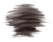 Expressive striped black ink or watercolor stain