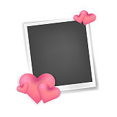 Vector realistic photo frame with hearts décor
