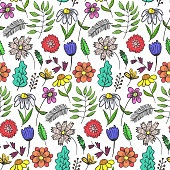 Bright doodle floral pattern with colorful flowers