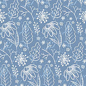 Pale blue pattern with outline leaves and branches