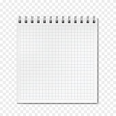 Square vertical vector realistic ruled notebook