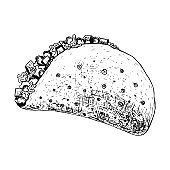 Black ink pen outline detailed Mexican taco icon