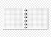 Opened realistic square ruled notebook mockup
