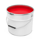 Red Color Paint Bucket Isolated