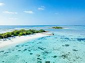 Aerial view of Canareef Resort Maldives, Herathera island, Addu atoll