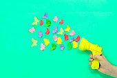 Culinary pistol shoots paper origami butterflies