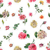 Cute Watercolor Vintage Floral Seamless Pattern with Pink Roses, Hydrangea, Snail and Wild Flowers, Botanical Texture