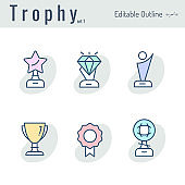 Trophy, Award icon, Medal, Success, Achievement, Leadership, Perfection, Championship, Celebrity award, Editable Stroke