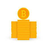 Crypto currency is a penny of golden color on a white background