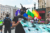 Participants of the annual Prague Gay Pride parade.