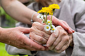 Elderly care - hands, bouquet