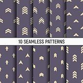 Set of ten seamless patterns.