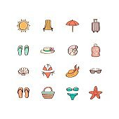 Summer vacation hand drawn icon set in doodle style. Design elements for summer party