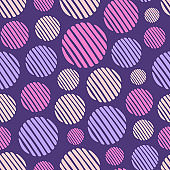 Abstract seamless pattern of hand drawn striped circles. Color vector background.