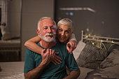 Older couple in love hugging