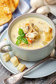 Chicken cream soup with cheese and mushrooms.